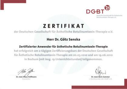 Zertifikat Botulinmtoxin Behandlung